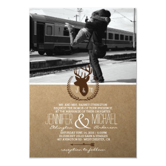 Couple hugging at the train station/deer theme card