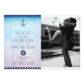 Couple hugging at the train station/nautic theme card
