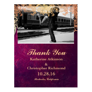 Couple hugging at the train station/purple vintage postcard