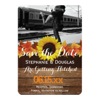 "Couple hugging at the train station/Save The Date 5"" X 7"" Invitation Card"