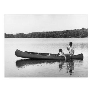 Couple in a Canoe Postcard