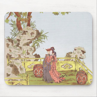 Couple in a Chinese garden, from 'Ornaments of Chi Mouse Pad