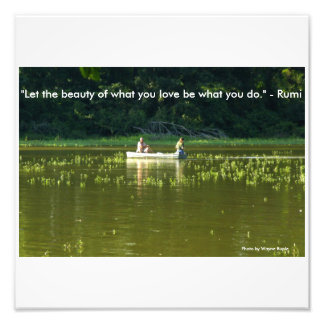 Couple in Boat on Lake w/Rumi quotation Photo Print