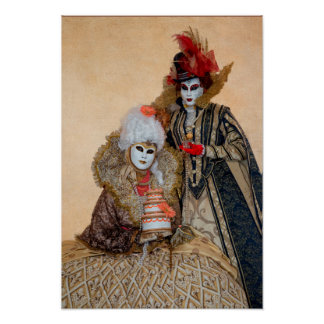 Couple in Carnival Costume, Venice Poster