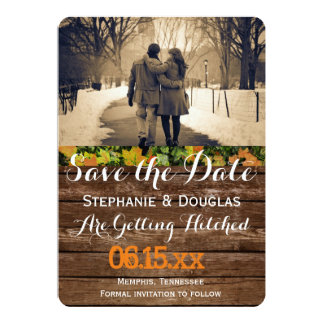 "Couple in love at the park winter/Save The Date 5"" X 7"" Invitation Card"