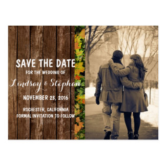 Couple in love at the park winter/Save The Date Postcard