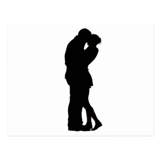 Couple in Love Silhouette embracing hug intimacy Postcard