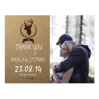 Couple In Love Tenderly Embraces/deer Postcard