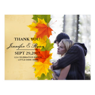 Couple In Love Tenderly Embraces/fall theme Postcard