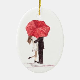 Couple in love under red umbrella ceramic ornament