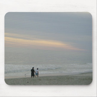 Couple In Love Walking on Beach Mouse Pad