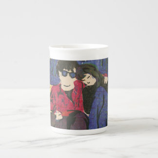 Couple in Love Woodcut Print Blue Red Yellow Bone China Mug