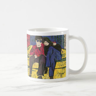 Couple in Love Woodcut Print Blue Red Yellow Classic White Coffee Mug