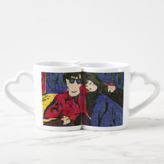 Couple in Love Woodcut Print Couples Mug