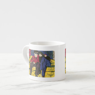 Couple in Love Woodcut Print Espresso Mug
