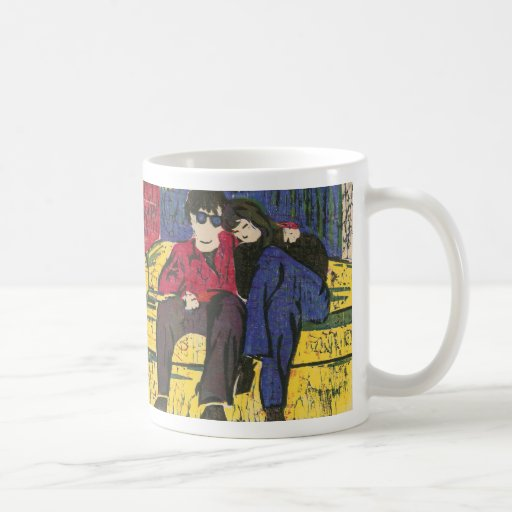 Couple in Love Woodcut Print Coffee Mug