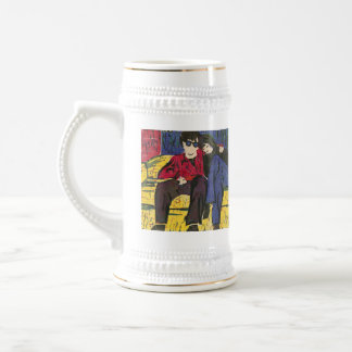 Couple in Love Woodcut Print Yellow Blue Red 18 Oz Beer Stein