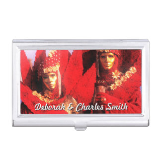 Couple in Red Costumes at The Carnival of Venice Business Card Holder