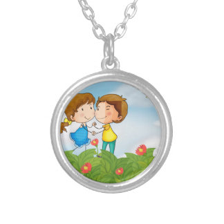 Couple in the garden with Mr. cupid Silver Plated Necklace