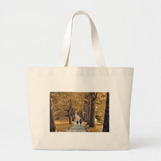 couple in the woods. large tote bag