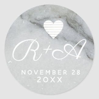 couple initials on white marble wed classic round sticker
