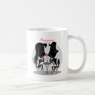 Couple kissing sharing milkshake forever love coffee mugs