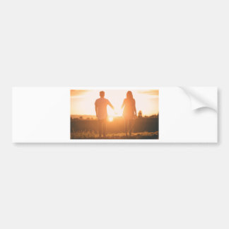 Couple lovers engagement sunset bumper sticker