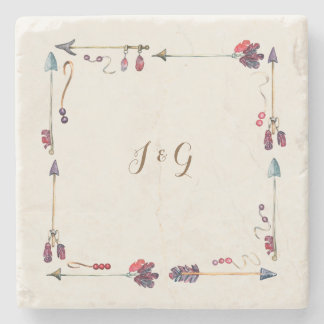 Couple Monogram boho wreath Stone Coaster