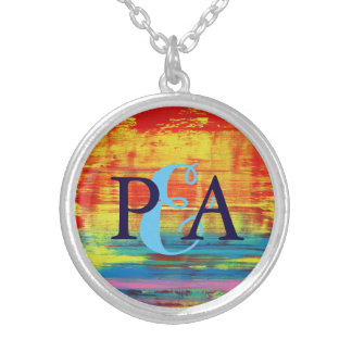 Couple Monogram Sunny Sunset Colorful Abstract Art Silver Plated Necklace