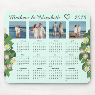 Couple Names and Photos | 2018 Photo Calendar Mouse Pad