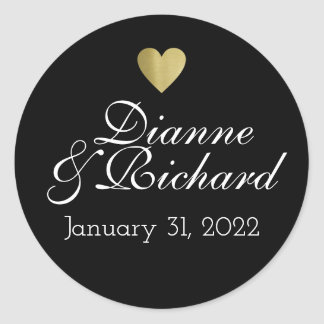 couple names love black classic round sticker