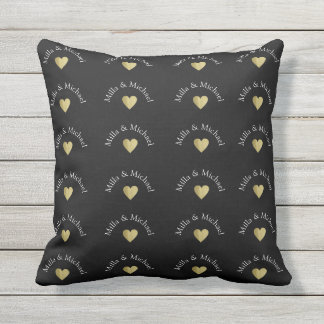 couple names love monogram on black outdoor pillow