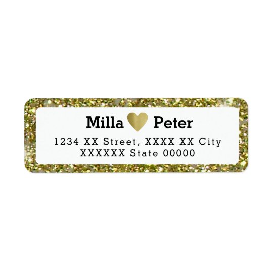 couple names with faux gold glitter border, love
