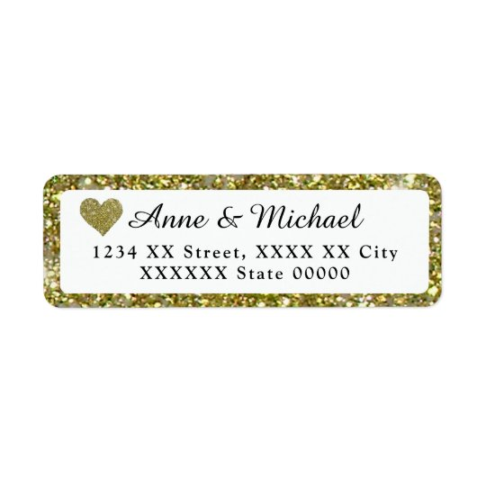 couple names with faux gold glitter border return address label