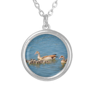 Couple nile geese swimming with newborn young silver plated necklace