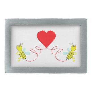 couple of bees rectangular belt buckle