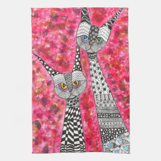 Couple of Cats Kitchen Towel-Customizable Kitchen Towel