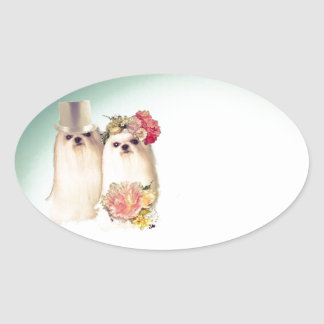 Couple of dogs dressed in wedding costume oval sticker