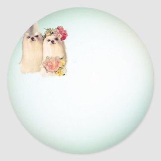 Couple of dogs dressed in wedding costume round sticker