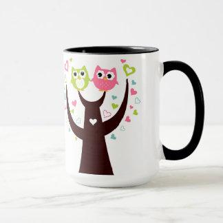 Couple of Owl Sitting on Tree Branch Combo Mug
