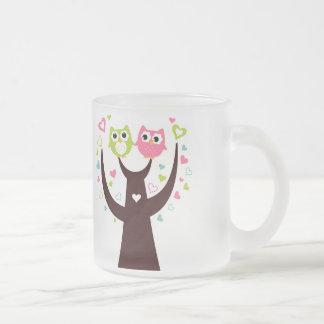 Couple of Owl Sitting on Tree Branch Glass Mug
