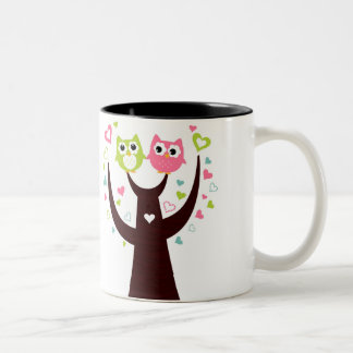 Couple of Owl Sitting on Tree Branch Two-Tone Mug