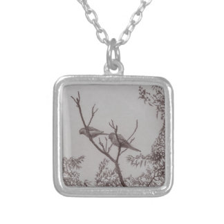 Couple of Parrots in the Top of a Tree Silver Plated Necklace