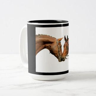couple of sportive  horses. Two-Tone coffee mug