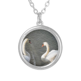 Couple of white swans on the lake silver plated necklace