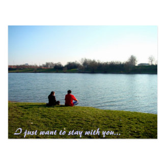 couple on a riverbank, I just want to stay with... Postcard