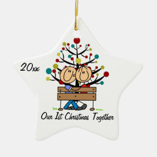 Couple on Bench Personalized Holiday Ornament