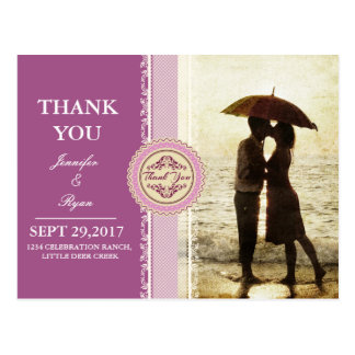 Couple on the beach/pink theme postcard