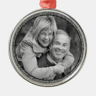 Couple or Family Photo Keepsake Silver-Colored Round Ornament