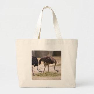Couple Ostriches eating Large Tote Bag